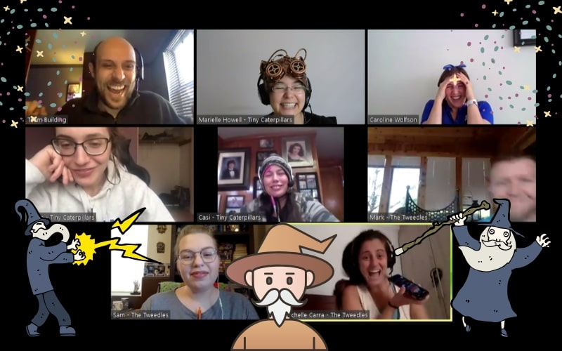 image of group doing online team building together on Zoom